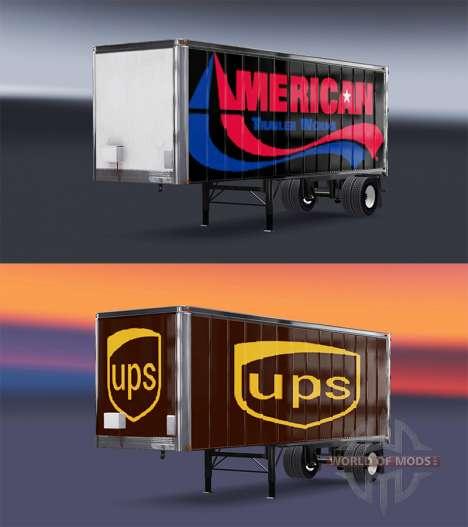 Peaux UPS et Américaine de la Remorque Fonctionn pour American Truck Simulator