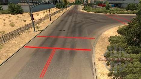 Rote Fahrbahnmarkierungen für American Truck Simulator