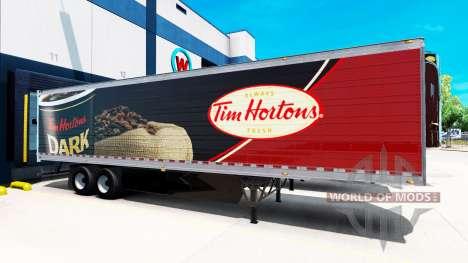La peau de Tim Hortons sur la remorque pour American Truck Simulator