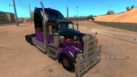 Kenworth W900 Dark Night paintjob pour American Truck Simulator