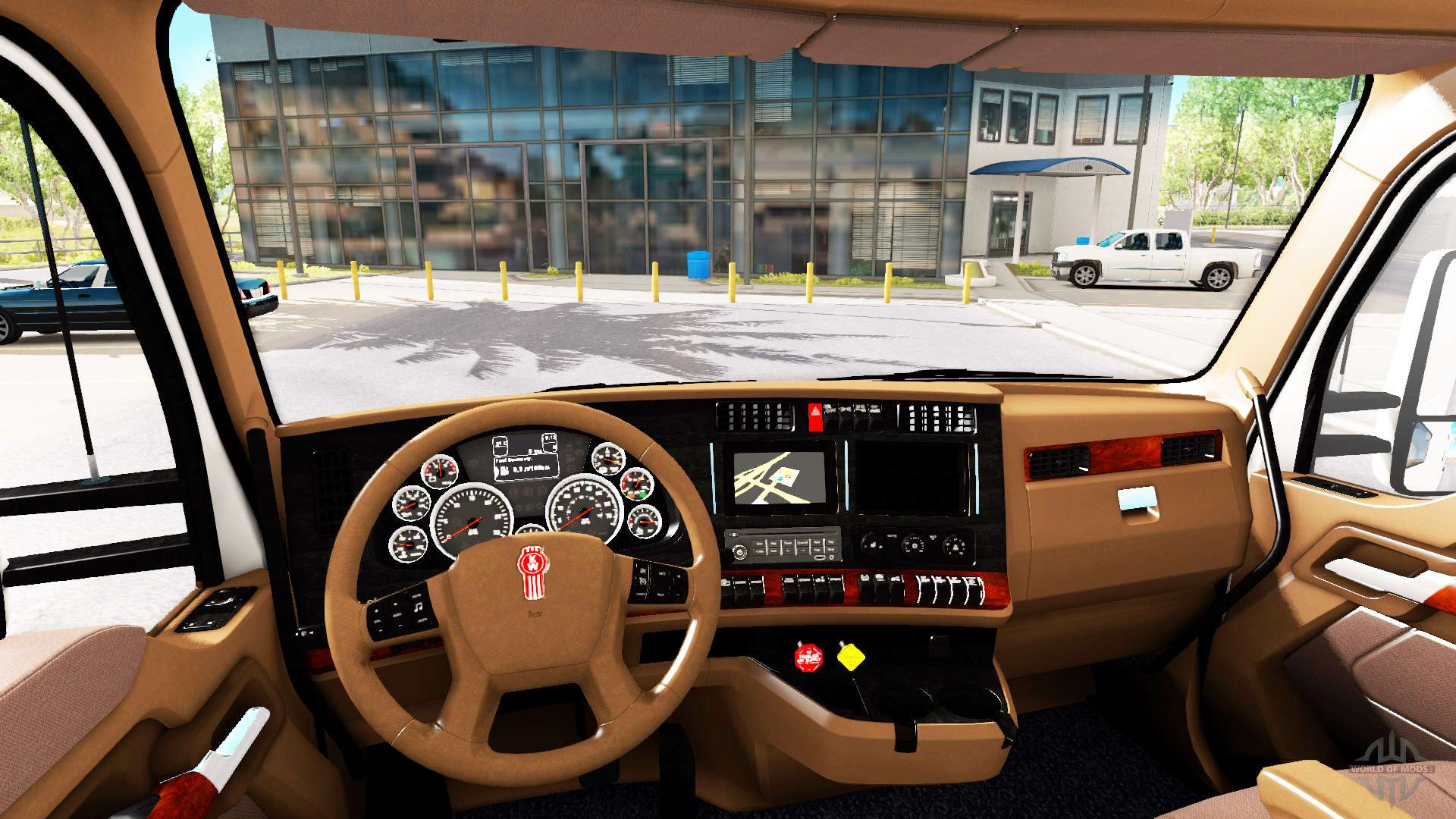 Int rieur brun kenworth t680 pour american truck simulator for Interieur kenworth t2000