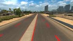 Rote Fahrbahnmarkierungen