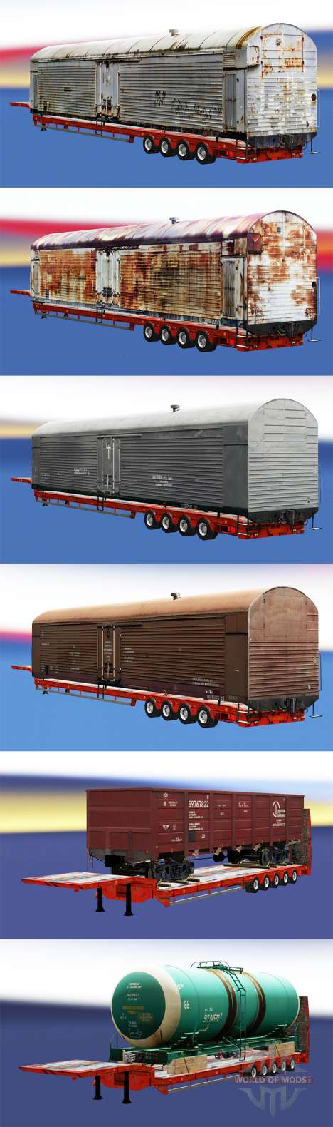 Semi-remorques avec zeleznodoroznyj compositions pour Euro Truck Simulator 2