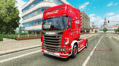 Haut Coca-Cola auf der Zugmaschine Scania für Euro Truck Simulator 2