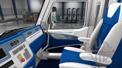 Weiß und blau Innenraum in einen Peterbilt 579 für American Truck Simulator