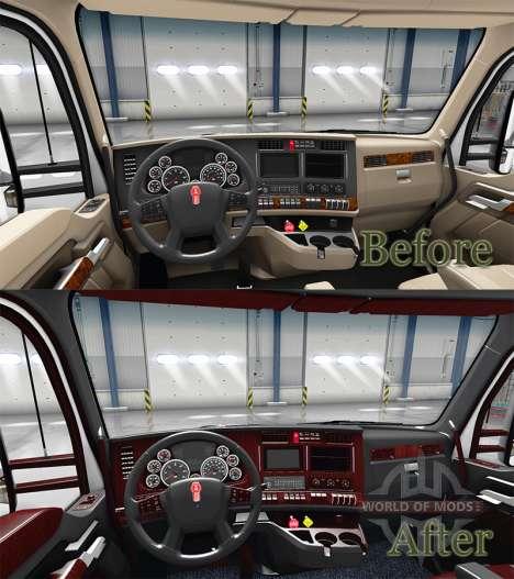 Le Luxe intérieur noir Kenworth T680 pour American Truck Simulator