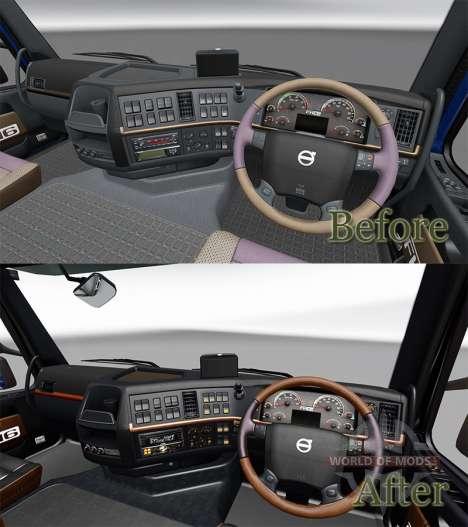 Schwarz und Braun interior für den Volvo für Euro Truck Simulator 2