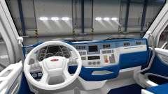 Weiß und blau Innenraum in einen Peterbilt 579