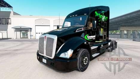 Haut Kawasaki Racing Team auf einem Kenworth-Zug für American Truck Simulator