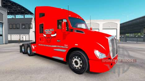 Peau les Bulls de Chicago sur tracteur Kenworth pour American Truck Simulator