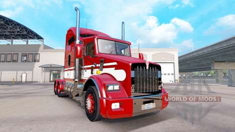 Peau Rouge-blanc-tracteur Kenworth T800 pour American Truck Simulator