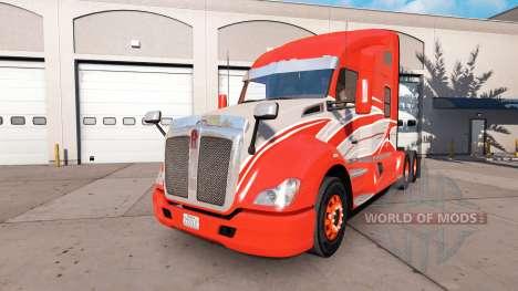 Die Haut der Roten Streifen auf dem truck Kenwor für American Truck Simulator