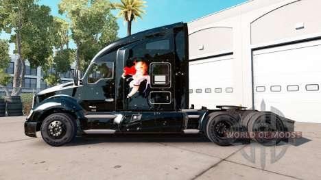 Skin Power Mädchen auf einem Traktor Kenworth für American Truck Simulator
