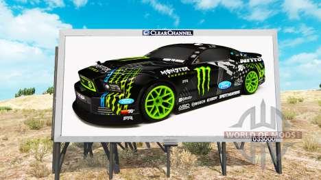 Monster Energy de la publicité sur les panneaux  pour American Truck Simulator