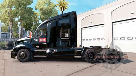 La peau de YouTube sur un tracteur Kenworth pour American Truck Simulator