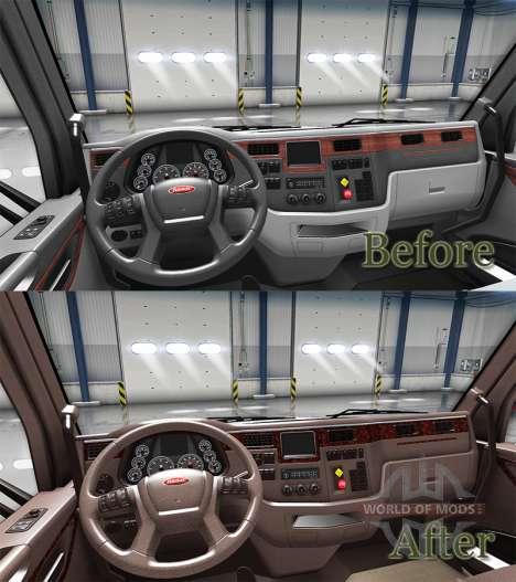 Luxus braune Innenausstattung Peterbilt 579 für American Truck Simulator