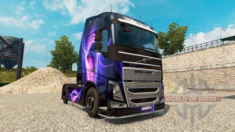 Haut-Schwarz & Lila auf einem Volvo truck für Euro Truck Simulator 2