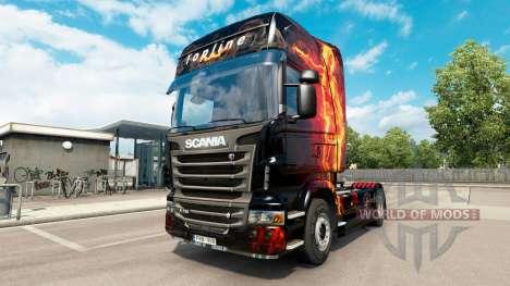 Feuer-Mädchen-skin für den Scania truck für Euro Truck Simulator 2