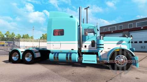 Peau Bleu-Blanc pour le camion Peterbilt 389 pour American Truck Simulator