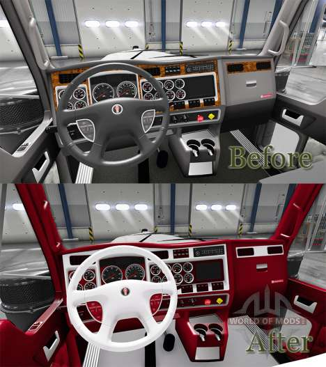 Die rot-und-weiß-Innenraum-Kenworth W900 für American Truck Simulator