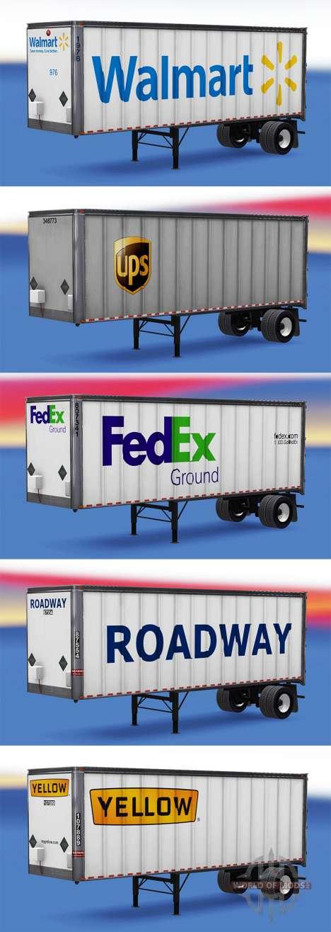Die logos von realen Firmen auf dem Anhänger für American Truck Simulator