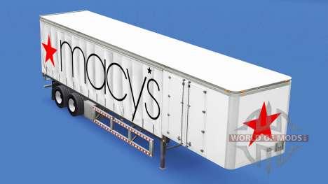 Haut Macys auf dem Anhänger für American Truck Simulator