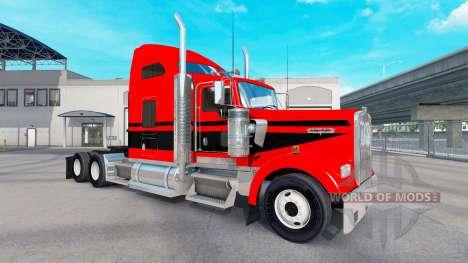 Peau Rouge-noir rayures sur le camion Kenworth W pour American Truck Simulator