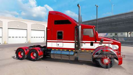 Haut-Rot-weiss-Zugmaschine Kenworth T800 für American Truck Simulator