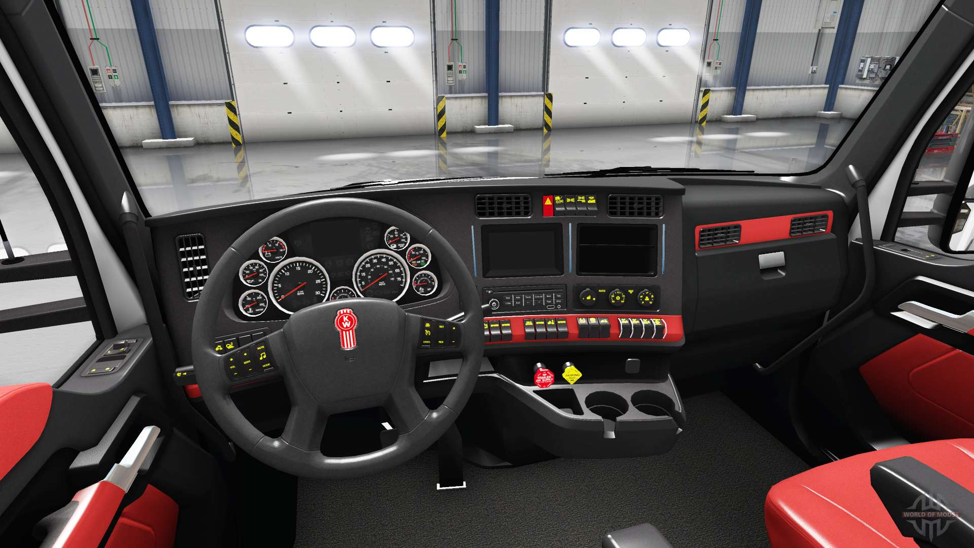 int rieur rouge kenworth t680 pour american truck simulator