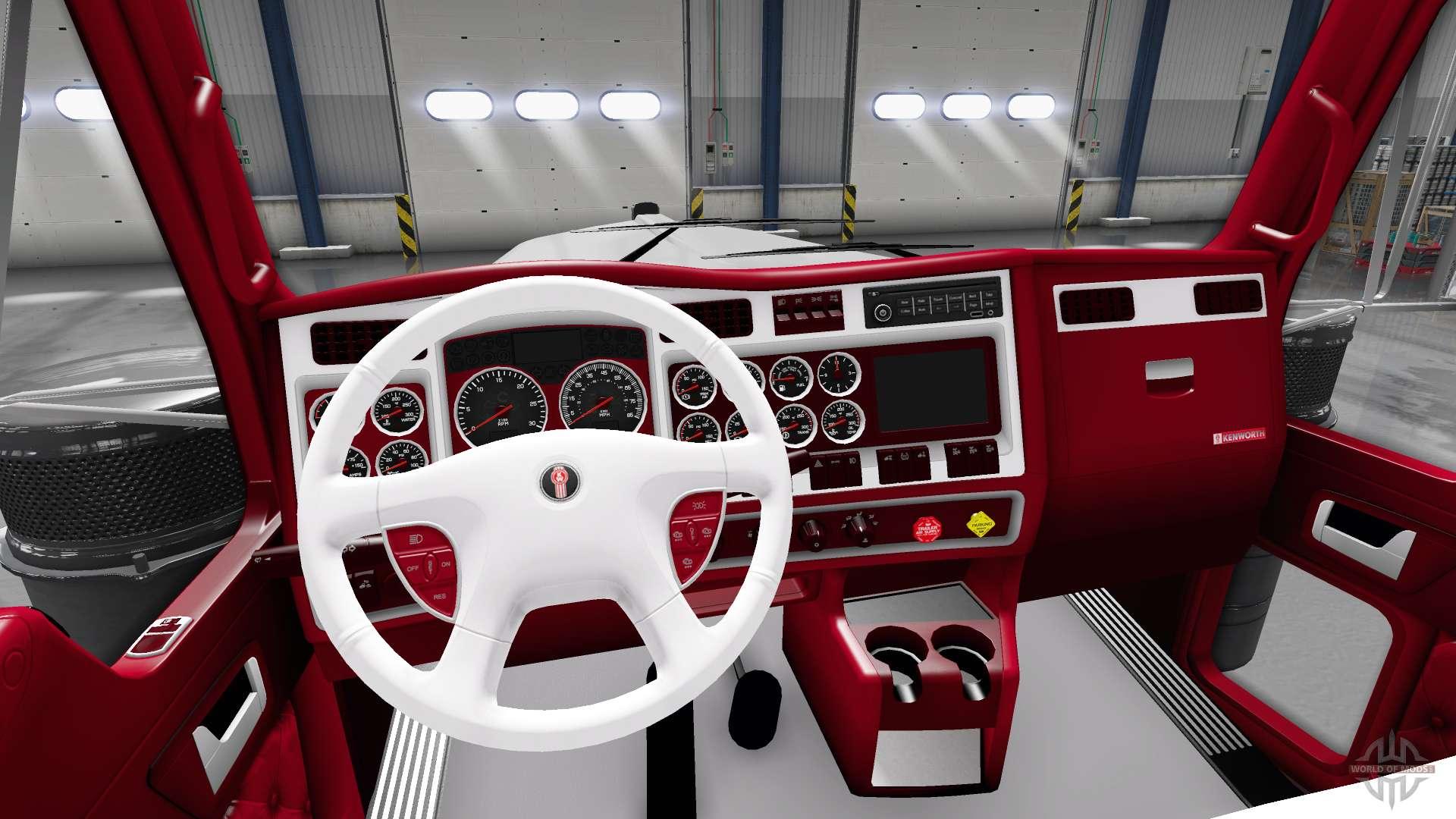 Les rouge et blanc int rieur kenworth w900 pour american for Interieur rouge