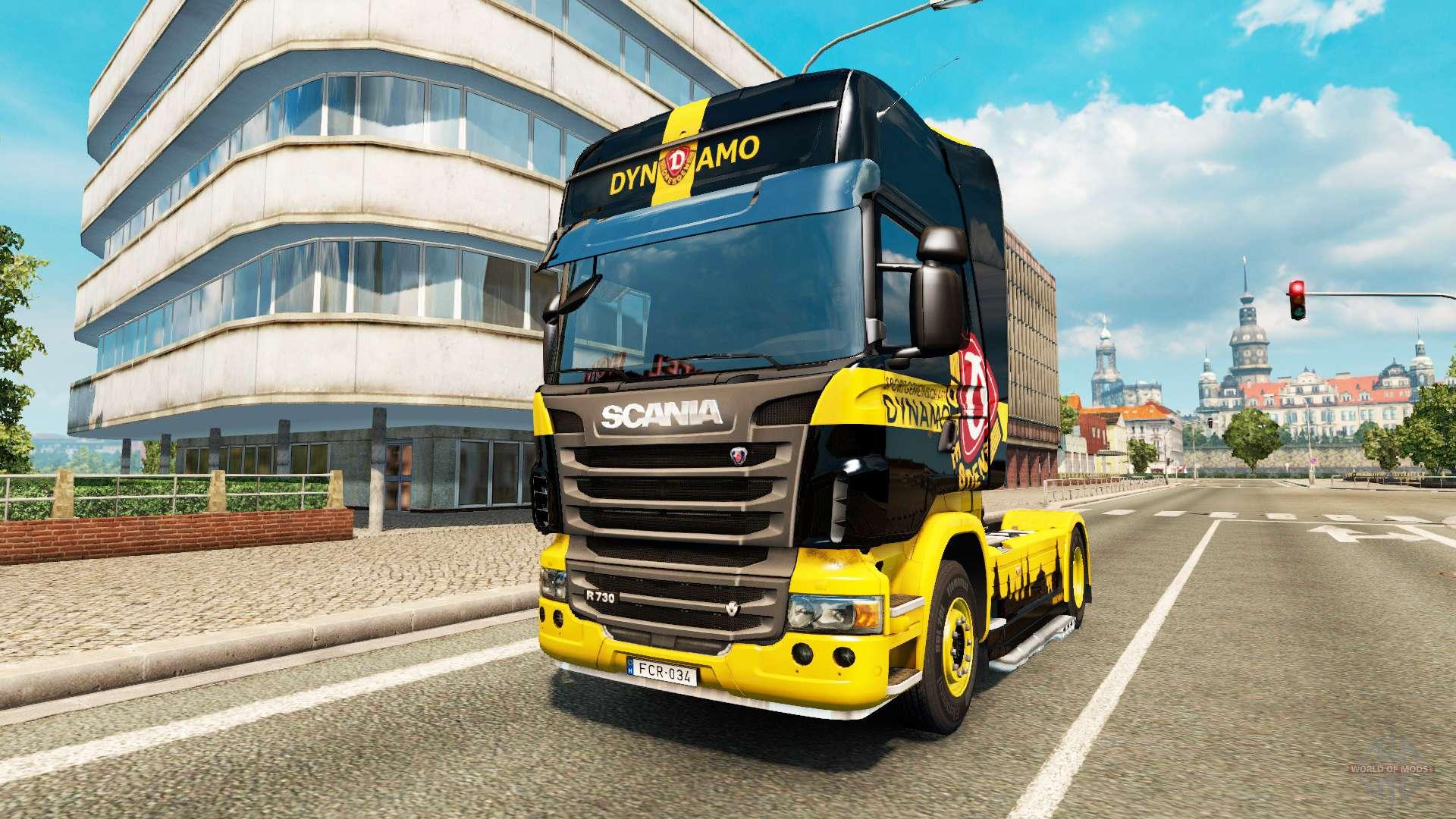 dynamo dresden skin f r scania lkw f r euro truck simulator 2. Black Bedroom Furniture Sets. Home Design Ideas