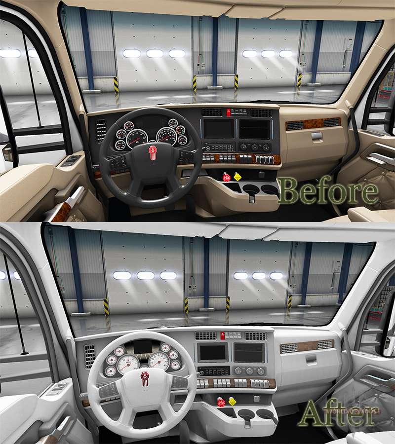 blanc kenworth t680 int rieur pour american truck simulator. Black Bedroom Furniture Sets. Home Design Ideas