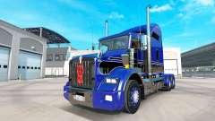 Haut Blau-schwarz auf die LKW-Kenworth T800