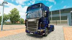 Haut Blauer Rauch auf Zugmaschine Scania