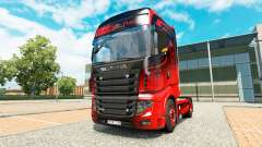 La peau Noire & Rouge pour tracteur Scania R700