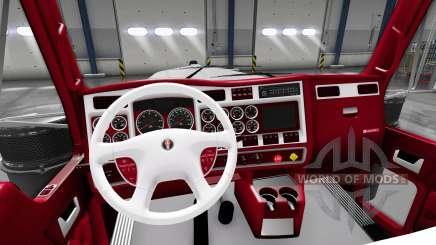 Les rouge-et-blanc intérieur Kenworth W900 pour American Truck Simulator