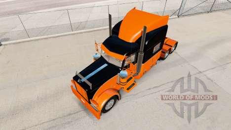 Le Noir et l'Orange de la peau pour le camion Pe pour American Truck Simulator