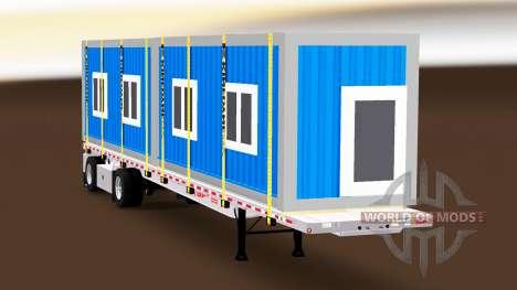 La semi-remorque plate-forme avec des charges di pour American Truck Simulator