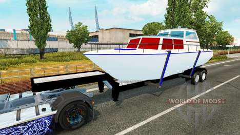 La remorque avec le bateau pour Euro Truck Simulator 2