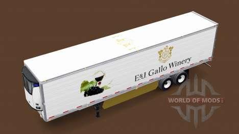 La peau E&J Gallo Winery sur la remorque pour American Truck Simulator