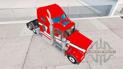 Peau Rouge et Blanc sur le camion Kenworth W900 pour American Truck Simulator