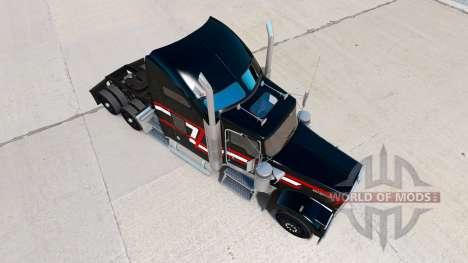 Haut Rot-weißen Streifen auf der LKW-Kenworth W9 für American Truck Simulator