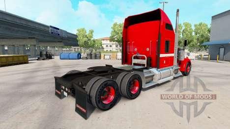 La peau Rouge avec Bande Blanche sur le camion K pour American Truck Simulator