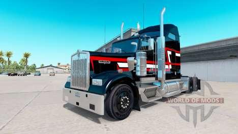 Peau Rouge blanc bandes sur le camion Kenworth W pour American Truck Simulator