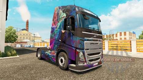 Die Fractal-Flame-skin für den Volvo truck für Euro Truck Simulator 2