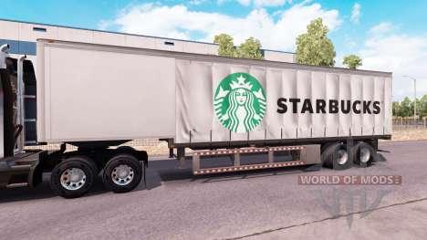 Curtain semitrailer Starbucks pour American Truck Simulator