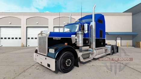 Haut Schwarz und Blau auf den truck Kenworth W90 für American Truck Simulator
