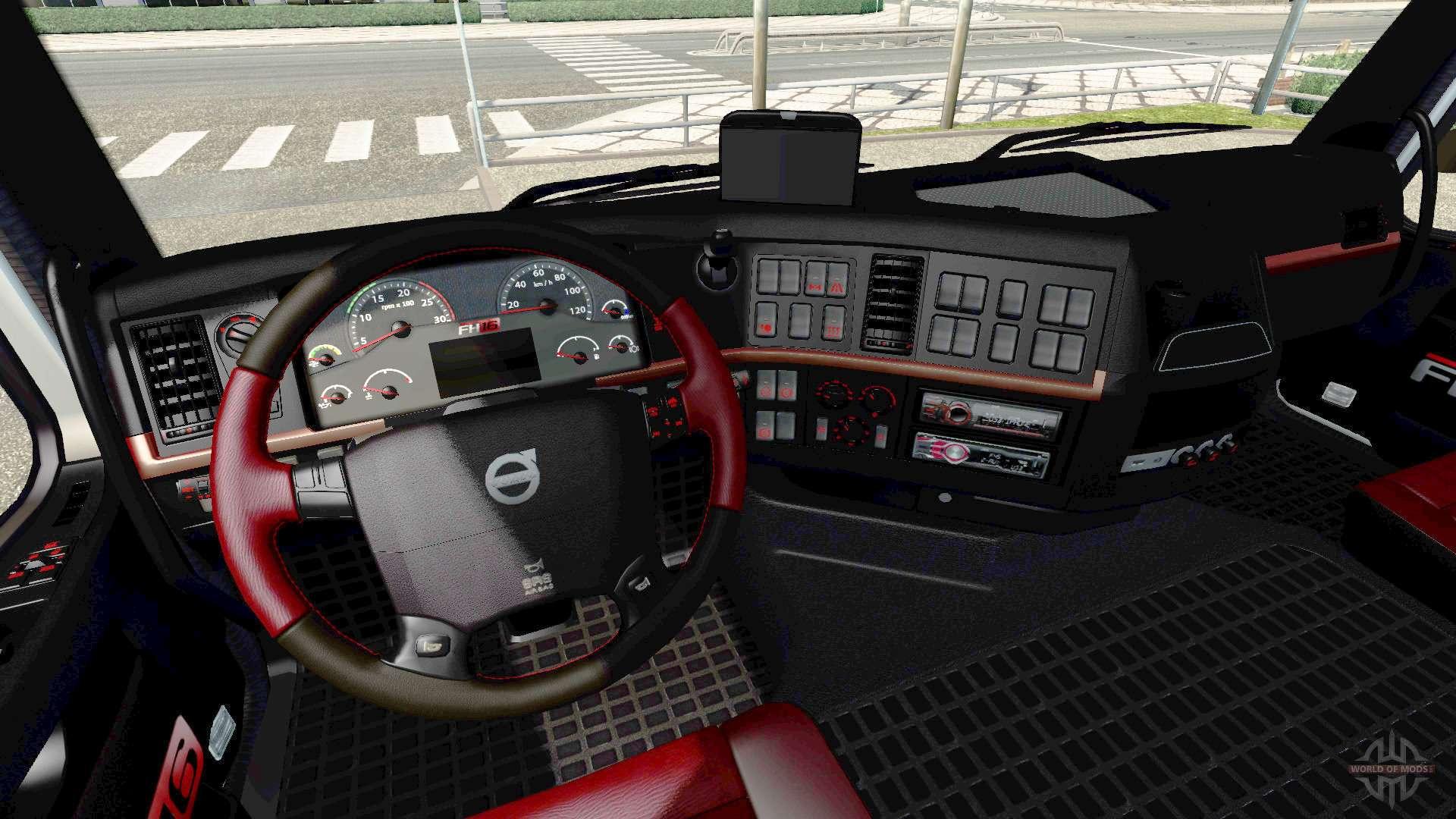 Noir et int rieur rouge volvo pour euro truck simulator 2 for Interieur rouge