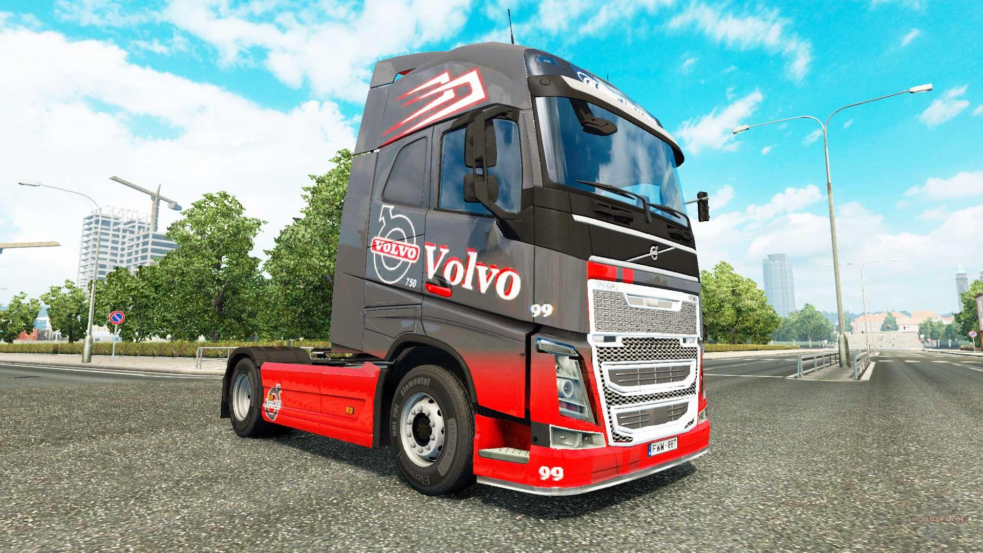grau rot skin f r volvo lkw f r euro truck simulator 2. Black Bedroom Furniture Sets. Home Design Ideas