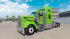 La peau Noire à rayures blanches sur le camion K
